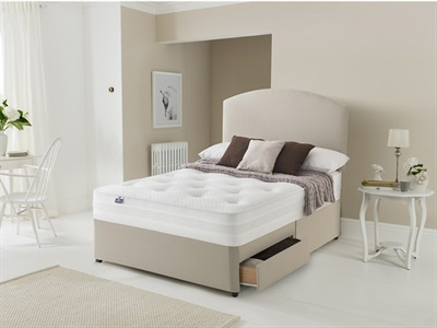Silentnight 1400 Pocket Sleep Ortho Divan Set 4 6 Double Sandstone Platform Top - No Drawers Divan