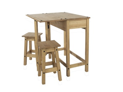 Product photograph showing Corona Breakfast Drop Leaf Table And 2 Stools Set