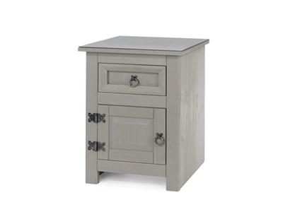 Product photograph showing Corona Compact 1 Door 1 Drawer Bedside Cabinet With Glass Top