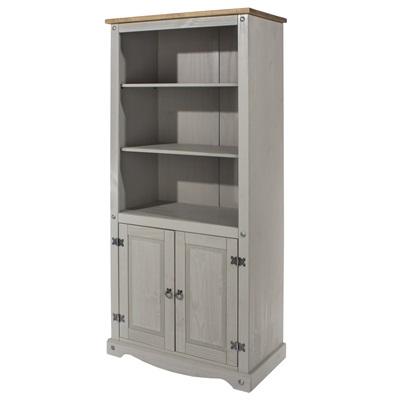 Product photograph showing Corona Grey 2 Door Bookcase