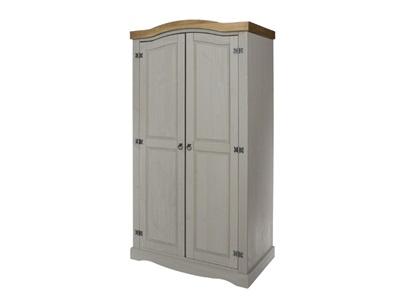Product photograph showing Corona Grey 2 Door Wardrobe