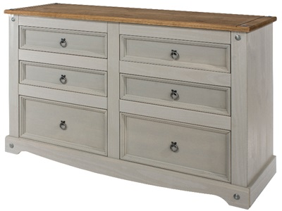 Product photograph showing Corona Grey 3 Plus 3 Drawer Wide Chest
