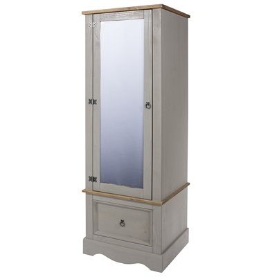 Product photograph showing Corona Grey Armoire With Mirrored Door