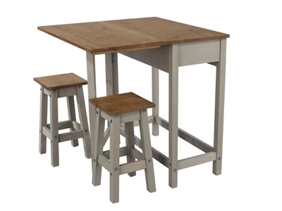 Product photograph showing Corona Grey Breakfast Drop Leaf Table And 2 Stools Set