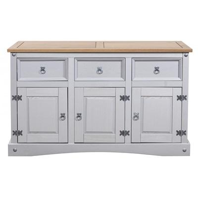 Product photograph showing Corona Grey Sideboard 3 Doors 3 Draws