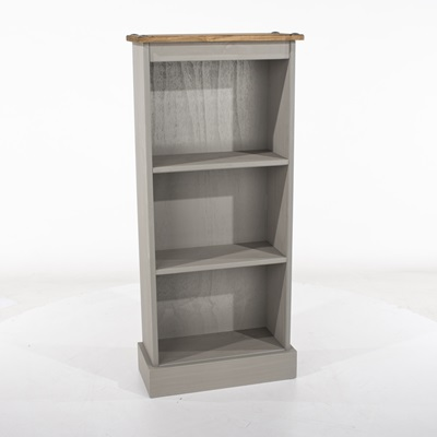 Product photograph showing Corona Grey Low Narrow Bookcases