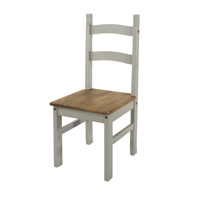 Product photograph showing Corona Grey Solid Pine Chairs Pair