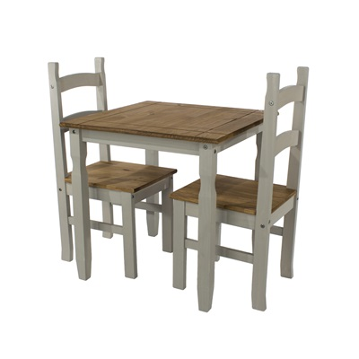 Product photograph showing Corona Grey Square Dining Table And 2 Chair Set