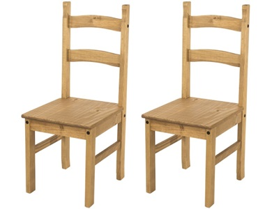 Product photograph showing Corona Solid Pine Chairs Pair