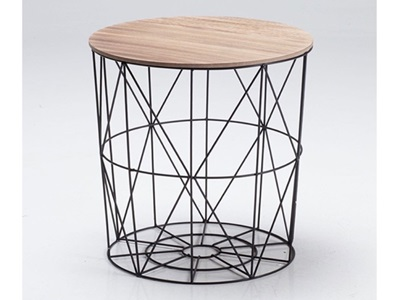 Product photograph showing Cosmo Cage Table Black With Oak Finish Top
