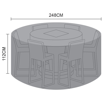 Product photograph showing Cover - 6 Seat Round Bar Set With Fire Pit