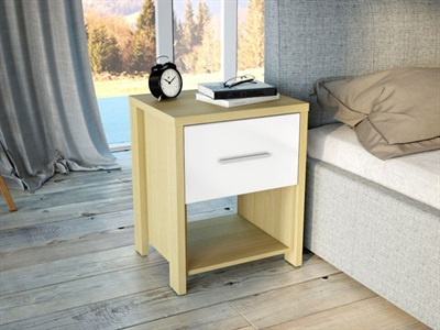 Birlea Cruz 1 Drawer Bedside Chest Oak and White Flat Packed Bedside Chest