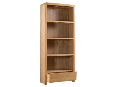 Product photograph showing Curve Oak Tall Bookcase
