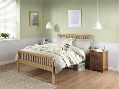 Silentnight Dakota 4 6 Double Oak Slatted Bedstead Wooden Bed