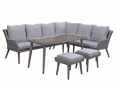 Product photograph showing Danielle Corner Dining Set With Stools In Fine Grey Wicker With Retro Legs