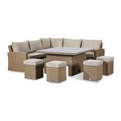 Product photograph showing Ciara Deluxe Corner Dining Set With Rising Table