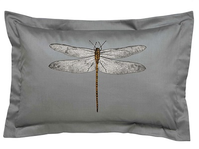 Demoiselle Oxford Dragonfly Pillowcase Graphite