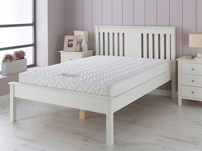 AirSprung Devon - White 3 Single White Bed Frame Only Wooden Bed