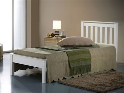 Balmoral Devon White 3 Single White Bed Frame Only Wooden Bed