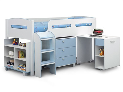 Julian Bowen Kimbo 3 Single White and Sky Blue Cabin bed Cabin Bed