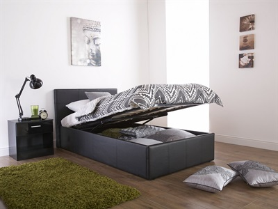 GFW End Lifting Ottoman 4 Small Double Black Leather Ottoman Bed