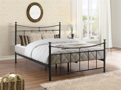 Birlea Emily 4 6 Double Glossy Cream Metal Bed