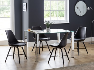 Product photograph showing Enzo Glass Top Dining Table