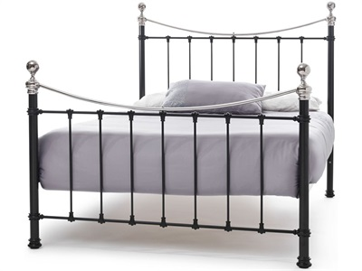 Serene Furnishings Ethan Black/Nickel 6 Super King Black Nickel Metal Bed
