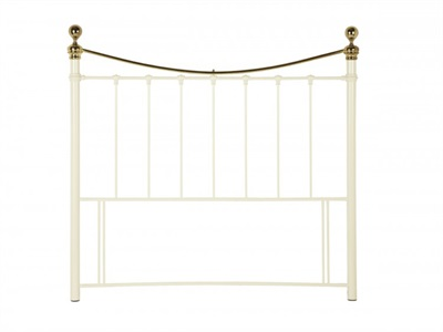 Serene Furnishings Ethan Ivory and Brass 5 King Size Ivory Gloss Metal Headboard