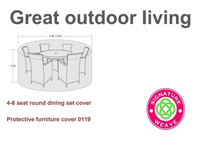 Product photograph showing Furniture Cover - For 4-6 Seater Round Dining Sets