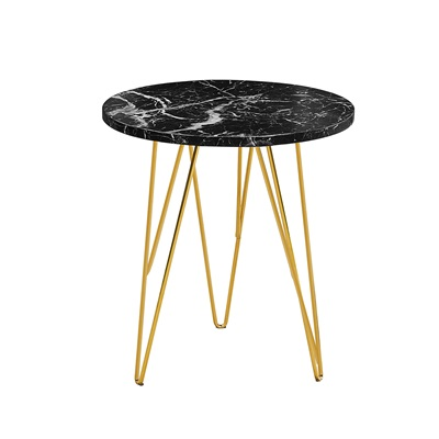 Product photograph showing Fusion Lamp Table Black Marble