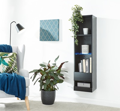 Product photograph showing Galicia Tall Shelf Unit With Led