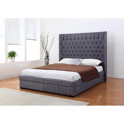 Product photograph showing Genesis Linen Bed In Dark Grey