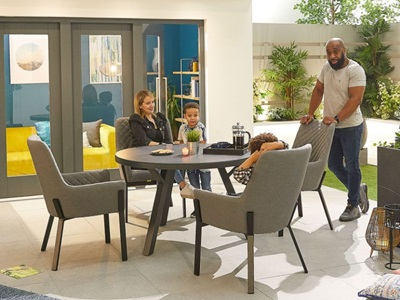 Product photograph showing Genoa Fabric 4 Seat Round Dining Set