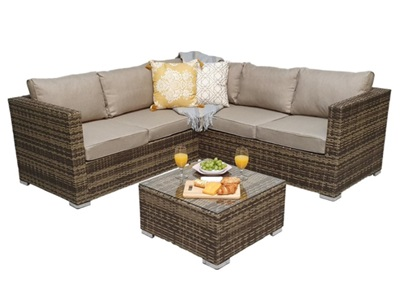 Product photograph showing Georgia Compact Corner Sofa Set With Coffee Table
