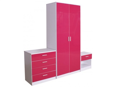 GFW Ottawa - Pink Gloss - 3-Piece Set (2 Door) Pink Gloss and white Bedroom Set