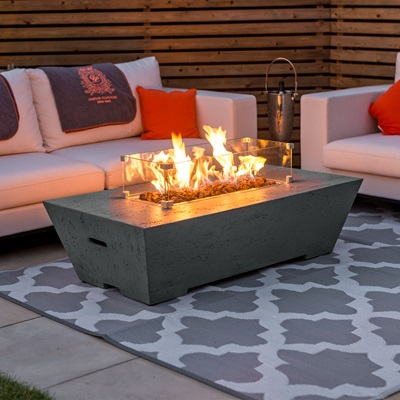 Product photograph showing Gladstone Gas Fire Pit With Wind Guard