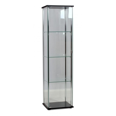 Product photograph showing Hatton Display Unit 1 Door Chrome And Black
