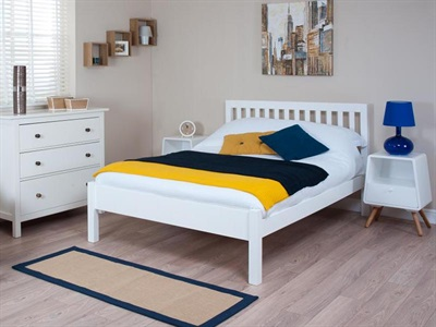 Silentnight Hayes - White 3 Single White Slatted Bedstead Wooden Bed