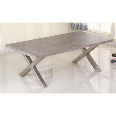 Product photograph showing Helix Coffee Table Stone And Brushed Stainless Steel