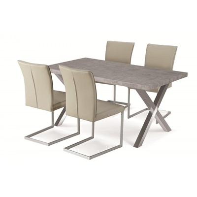 Product photograph showing Helix Dining Table Stone And Brushed Stainless Steel