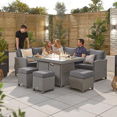 Product photograph showing Heritage Ciara Corner Dining Set With Fire Pit Table - Left Hand