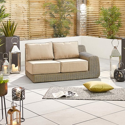 Product photograph showing Luxor Left Hand Sofa Piece - 2 Seat