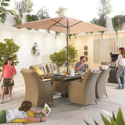 Product photograph showing Heritage Thalia 6 Seat Dining Set - 1 5m X 1m Rectangular Table