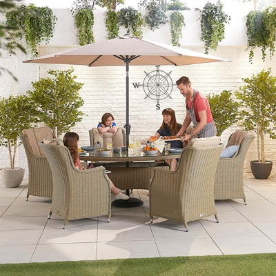 Product photograph showing Thalia 6 Seat Dining Set - 1 8m X 1 2m Oval Table