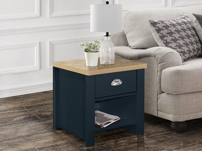 Product photograph showing Highgate 1 Drawer Lamp Table