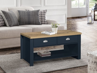 Product photograph showing Highgate 2 Drawer Coffee Table