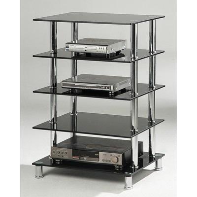 Product photograph showing Hudson Black Hifi Unit 5 Shelves