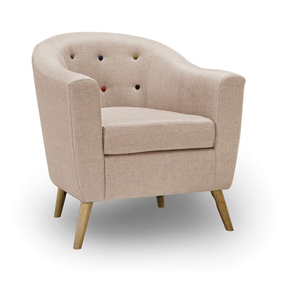 Product photograph showing Hudson Chair With Buttons Beige