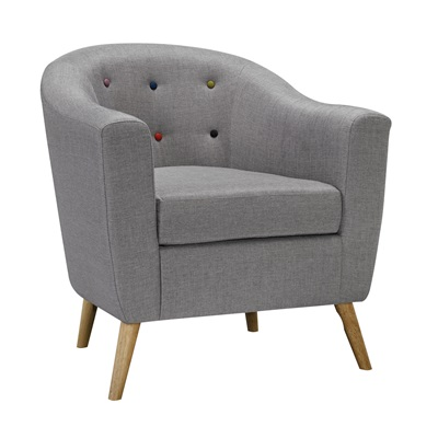 Product photograph showing Hudson Chair With Buttons Grey